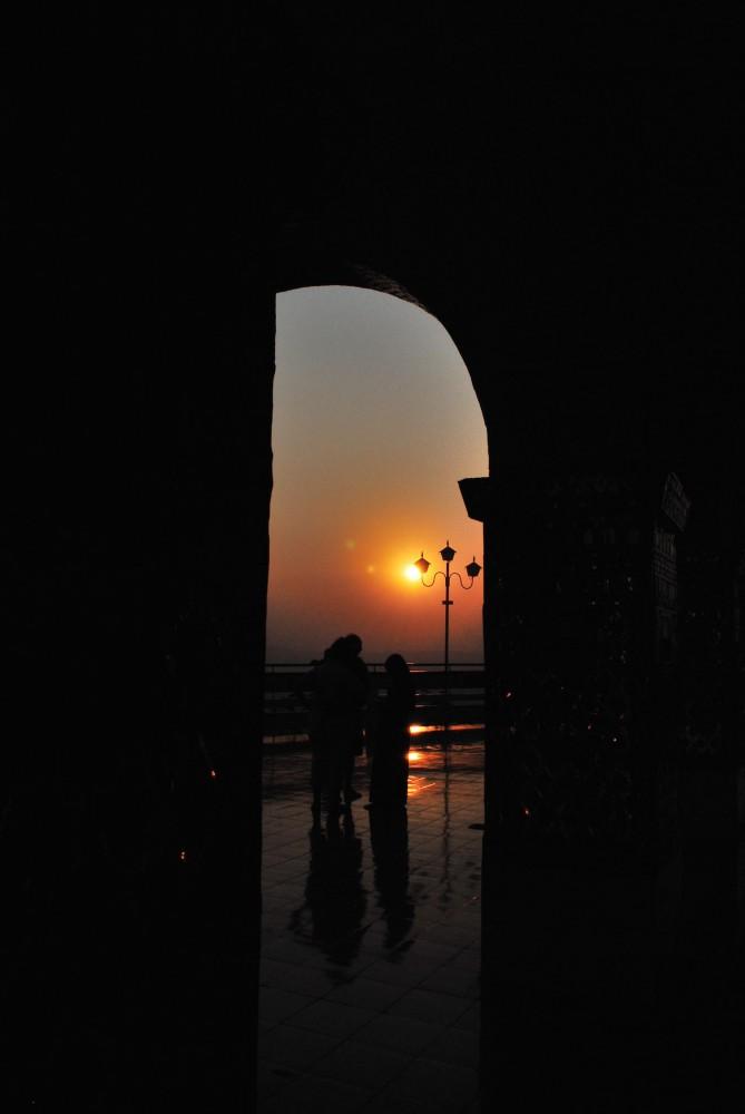 sunset through the doorway
