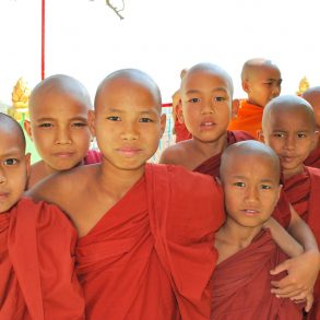 Group of young Burmese monks