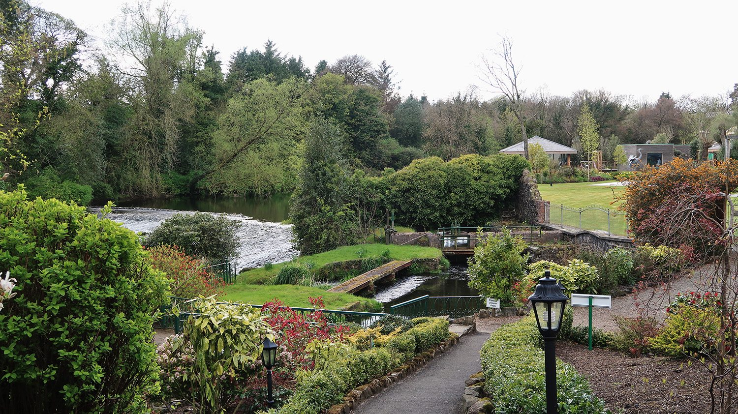 Landscaped gardens of spa with river running to the left