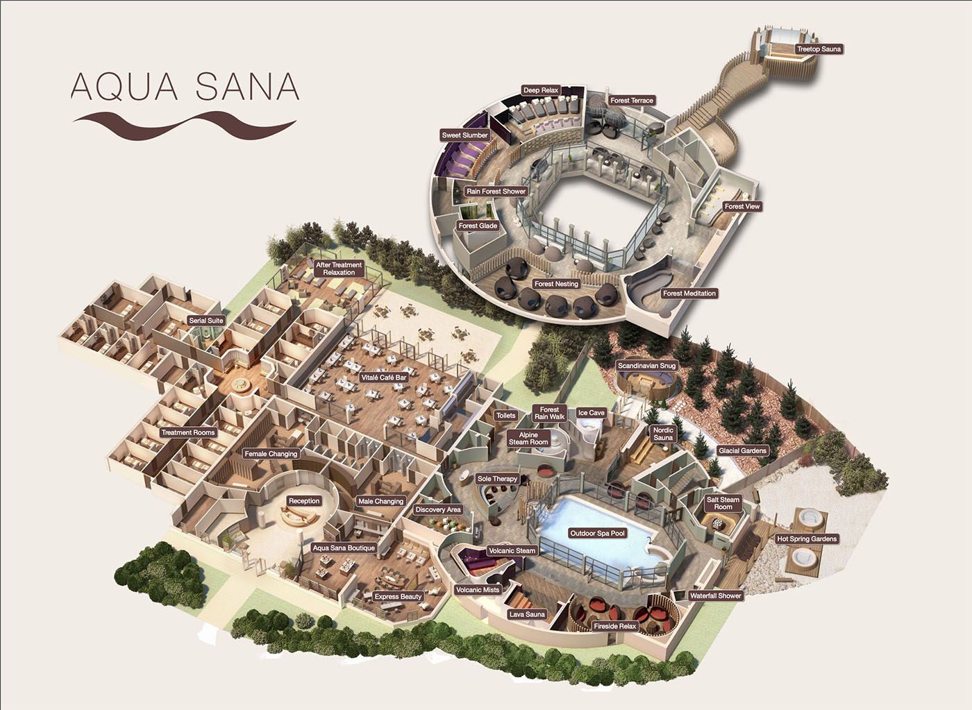 Illustrated map of the layout of the Aqua Sana Spa in Sherwood Forest Centerparcs