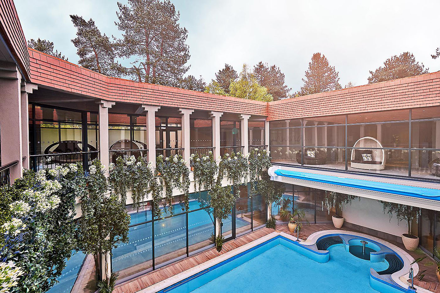 View from second floor of spa overlooking courtyard swimming pool